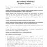 Declaration on (R)e-inventing democracy